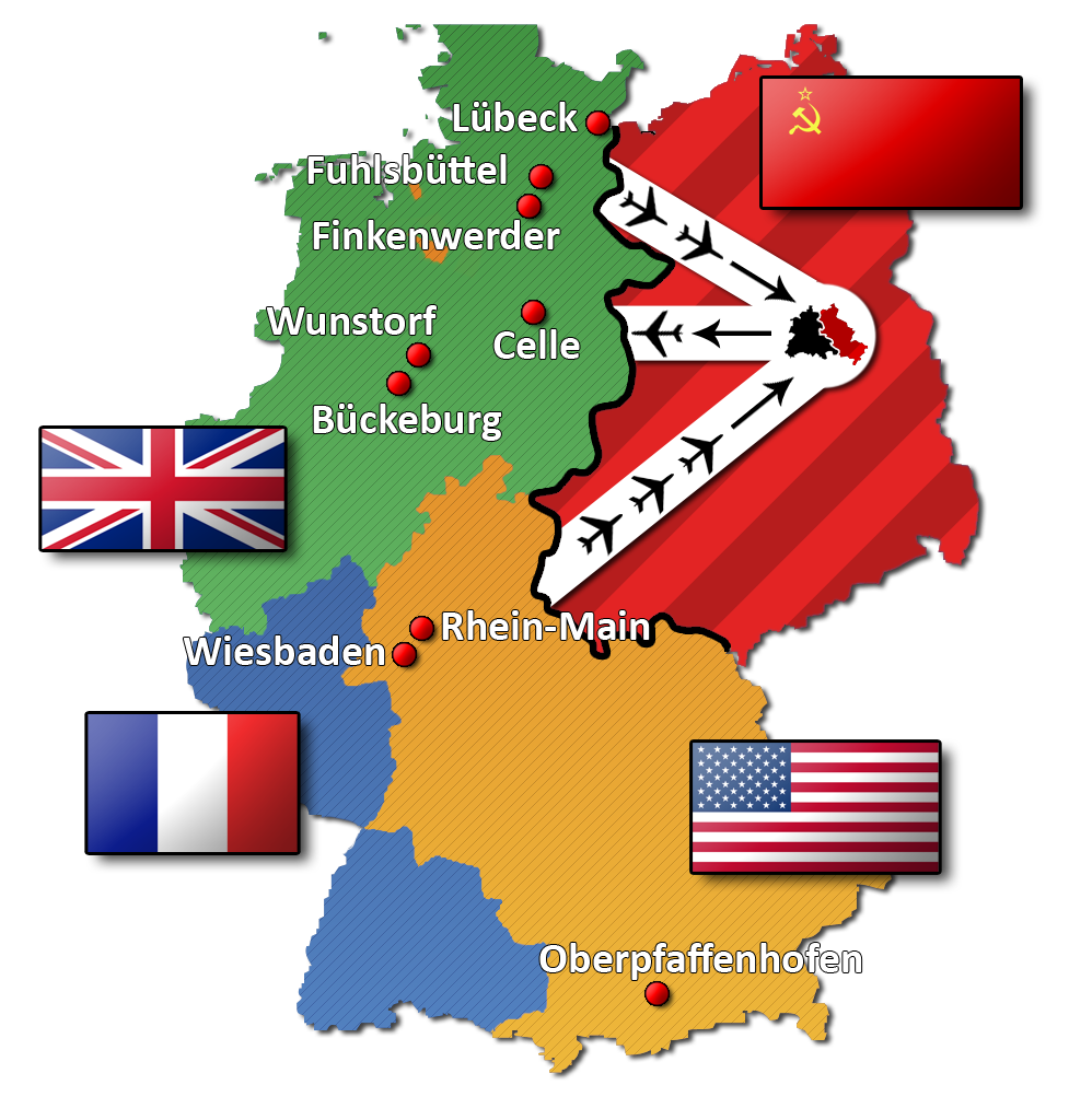 La partition de l'Allemagne en 4 zones d'occupation et les couloirs aériens délivrant les vivres à la partie Ouest de Berlin